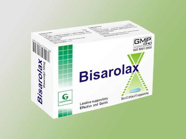 Mỗi hộp Bisarolax gồm 1 hộp 2 vỉ x 5 viên